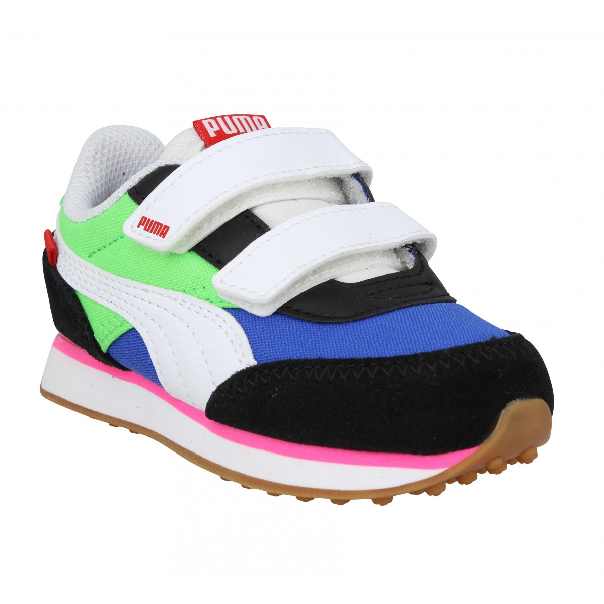Baskets PUMA Future Rider Play On V velours toile Enfant Bleu Vert