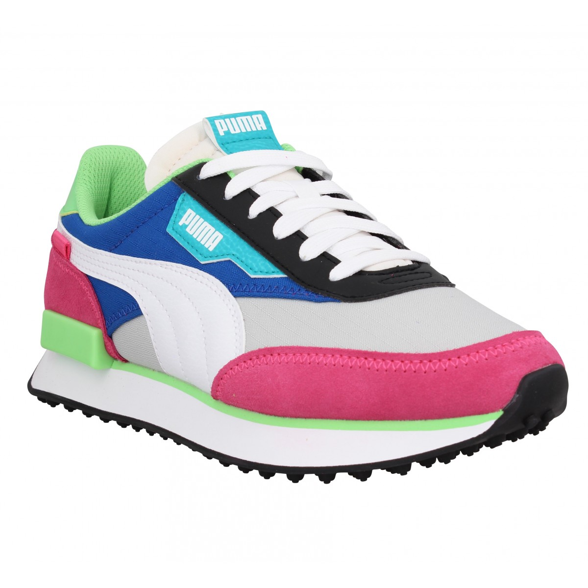 Baskets PUMA Future Rider Play On velours toile Femme Rose Vert