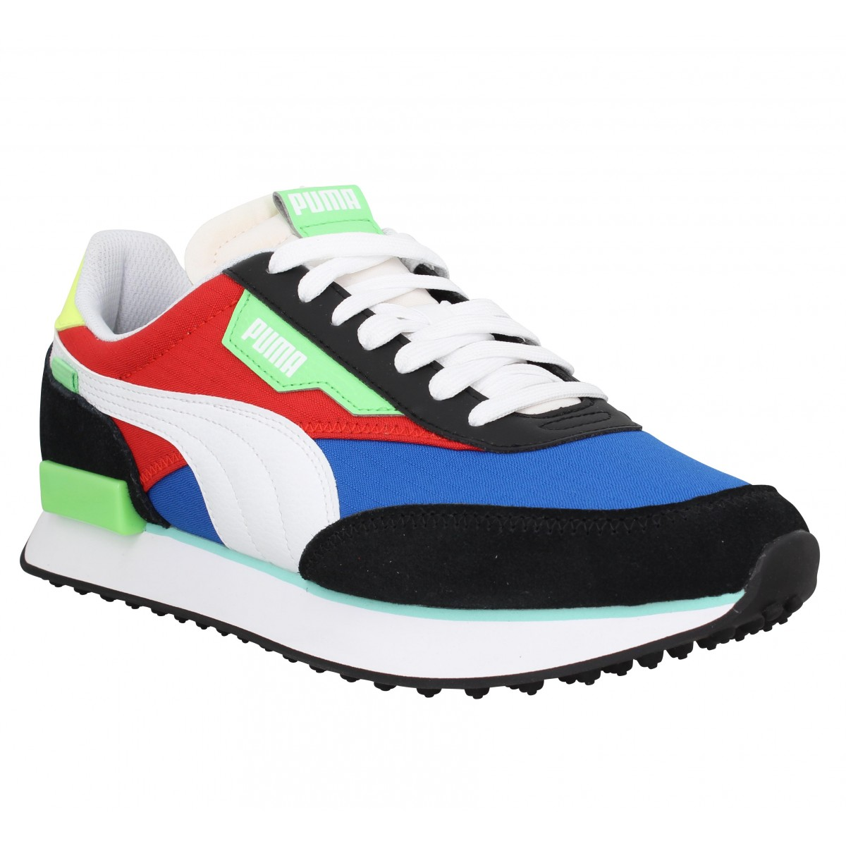 Baskets PUMA Future Rider Play On velours toile Homme Bleu Rouge