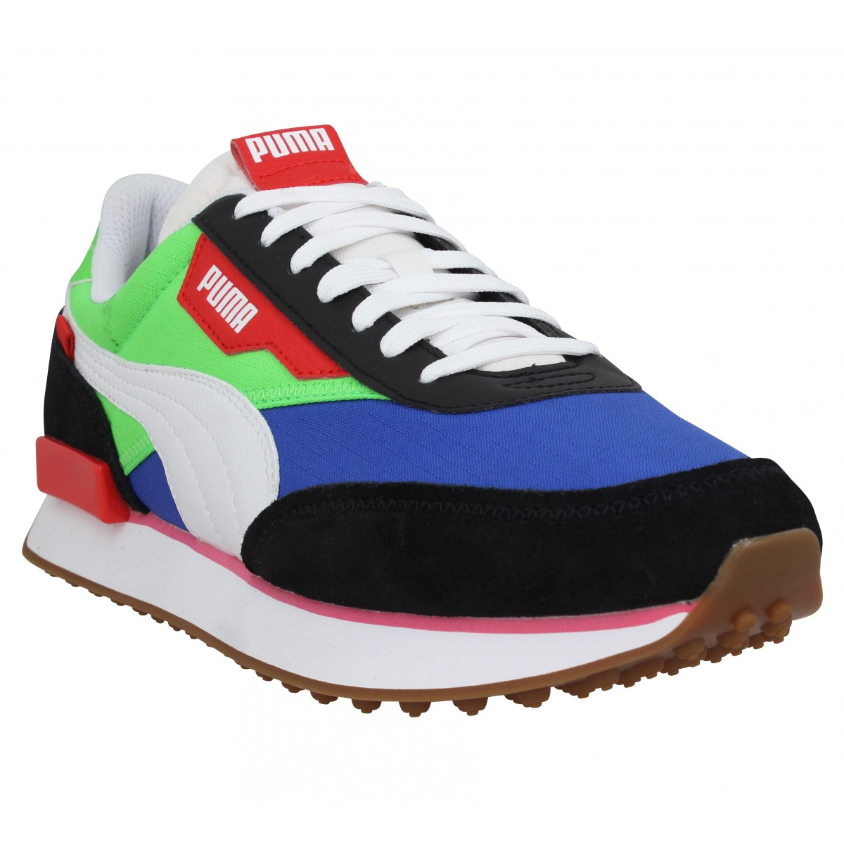 Baskets PUMA Future Rider Play On velours toile Homme Bleu Vert