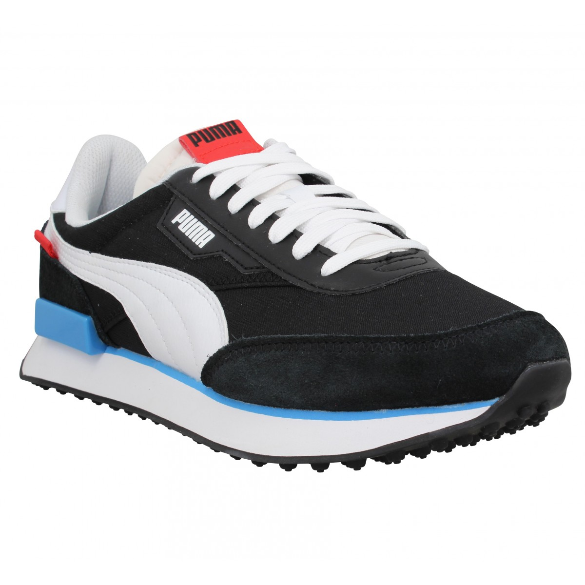 Baskets PUMA Future Rider Play On velours toile Homme Noir Blanc