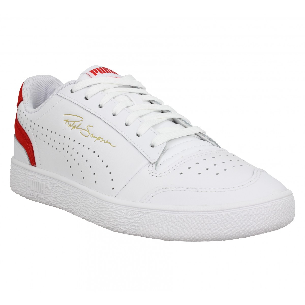Baskets PUMA Ralph Sampson Lo cuir Homme Blanc Rouge