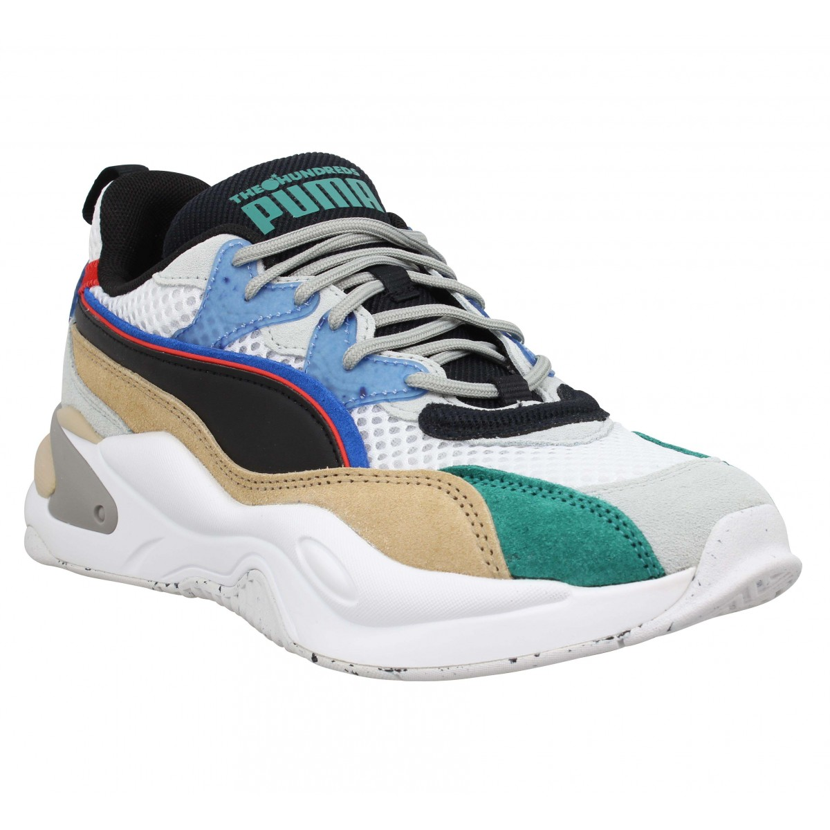 Baskets PUMA RS-2K HF The Hundreds velours toile Homme Blanc Noir