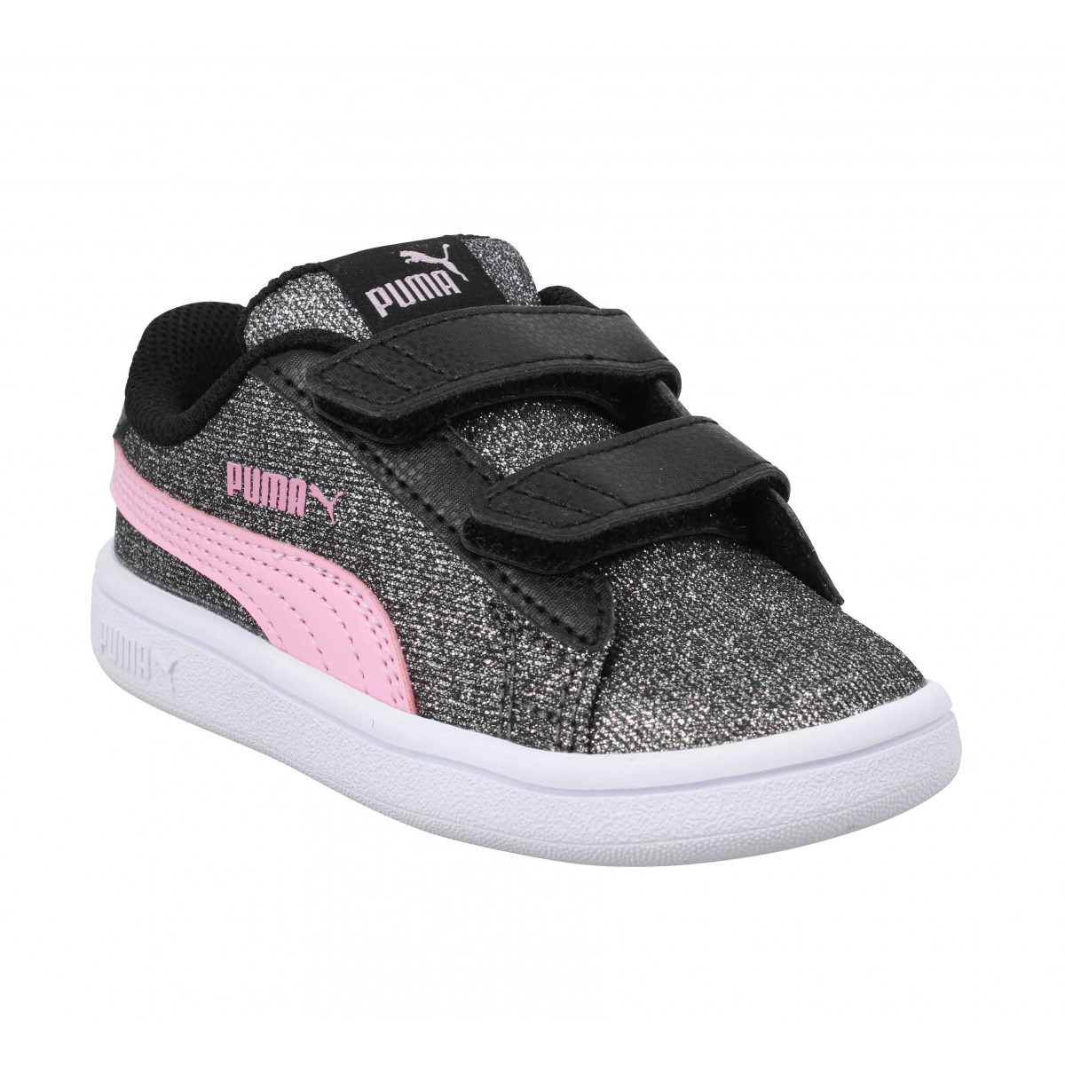 Baskets PUMA Smash Glitz toile Enfant Black Pink
