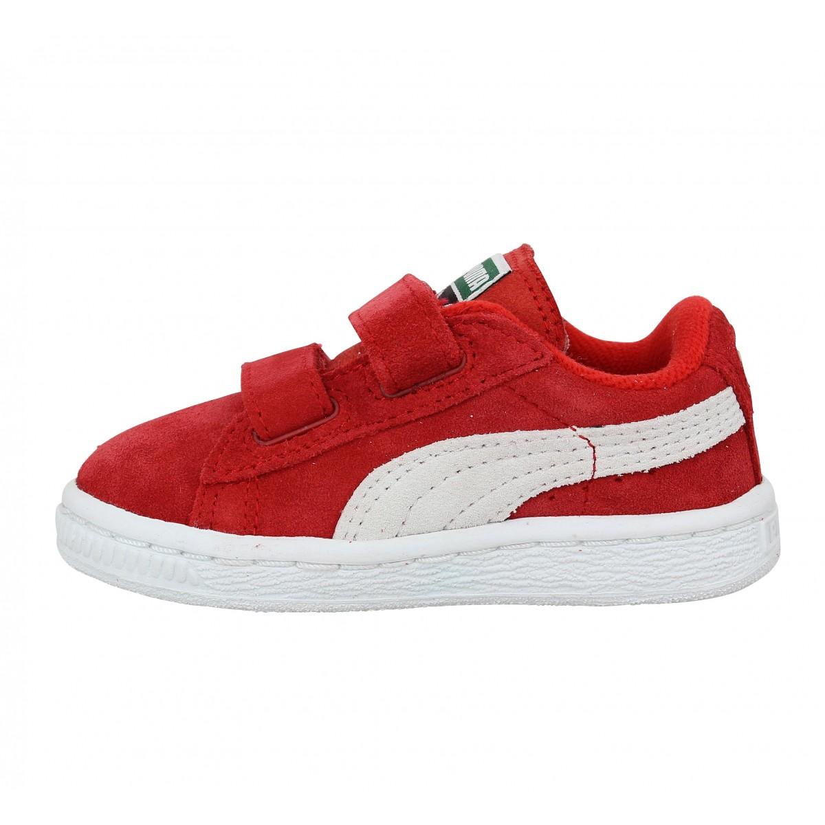 puma suede 2 straps enfant rouge fanny chaussures. Black Bedroom Furniture Sets. Home Design Ideas