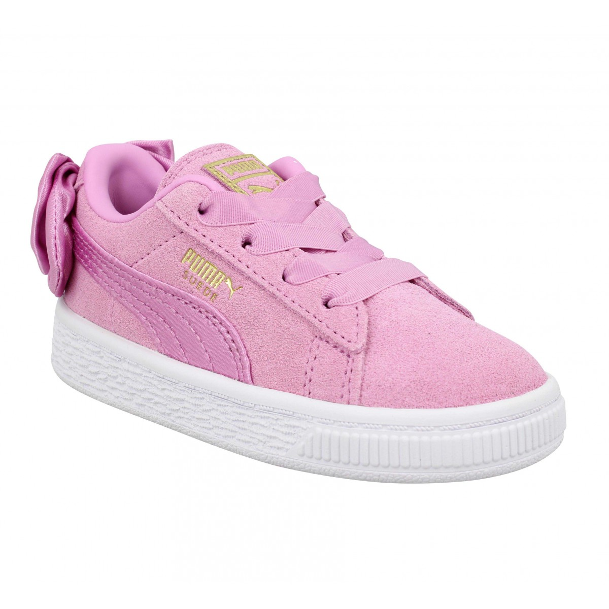 Baskets PUMA Suede Bow velours Enfant Rose