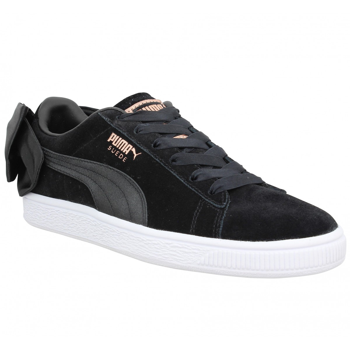 Baskets Suede Bow, Noir