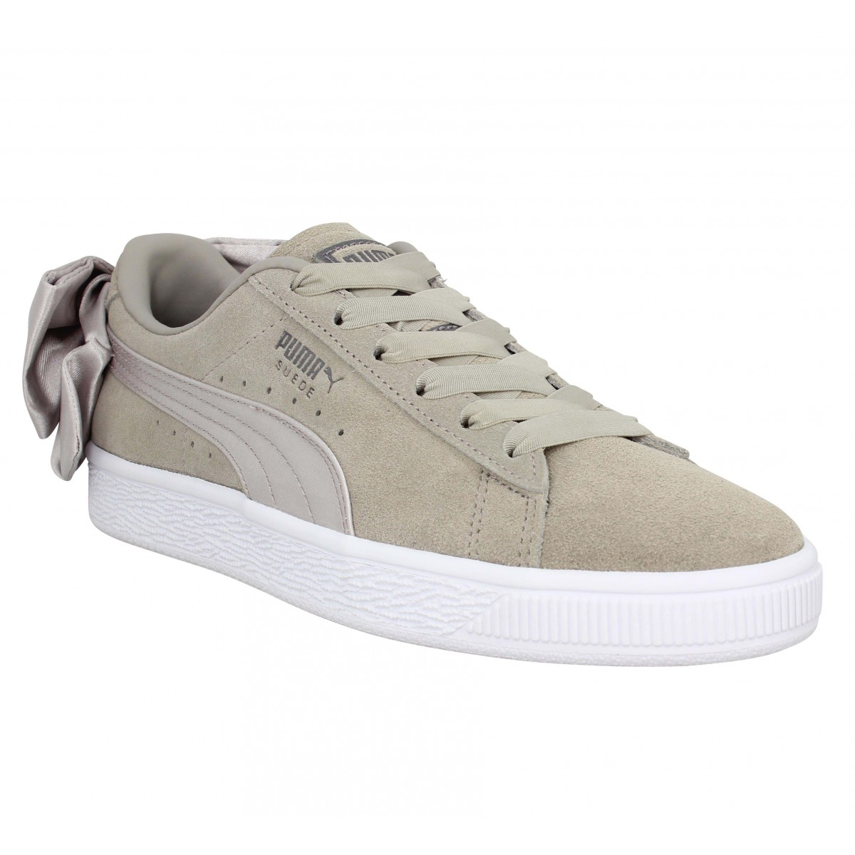 Baskets PUMA Suede Bow velours Femme Taupe