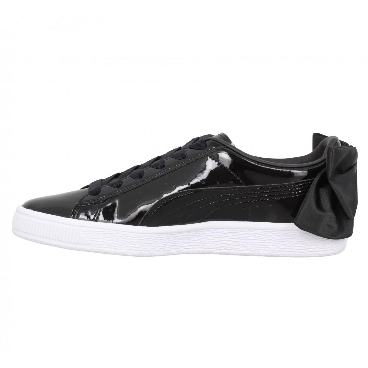 Chaussures Puma suede bow vernis femme noir femme | Fanny chaussures
