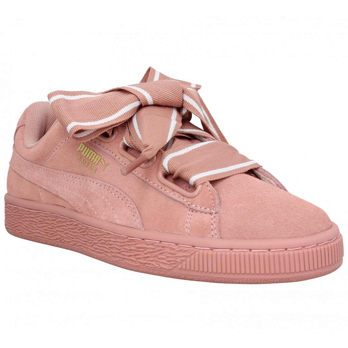 Baskets PUMA Suede Heart Satin velours Femme Cameo