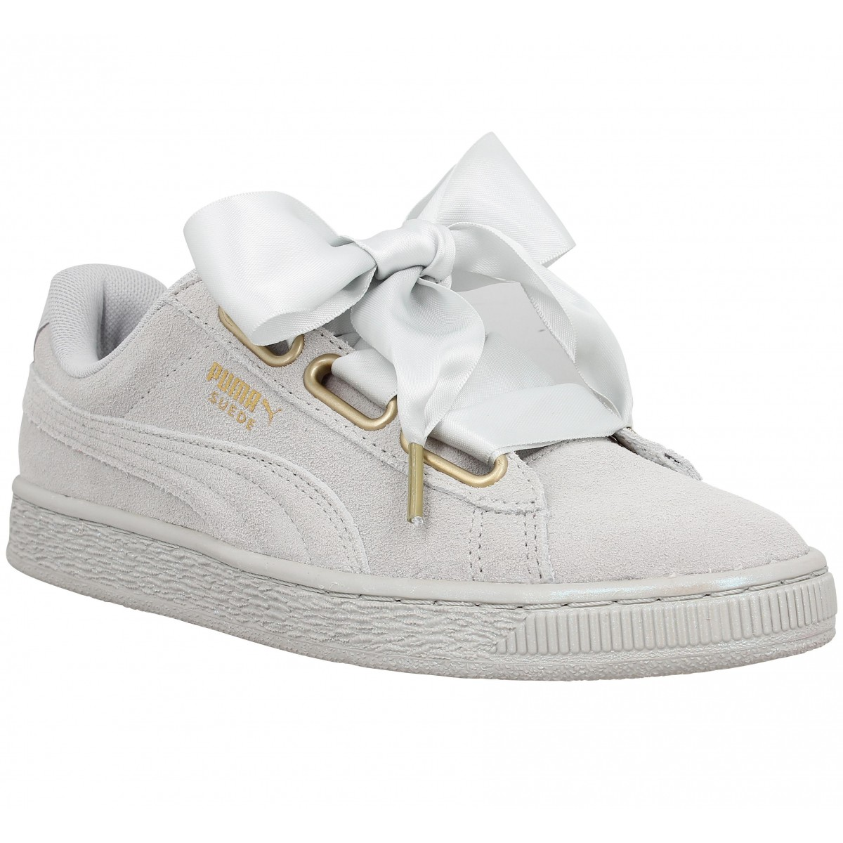 soldes puma suede heart satin gris femme fanny chaussures. Black Bedroom Furniture Sets. Home Design Ideas