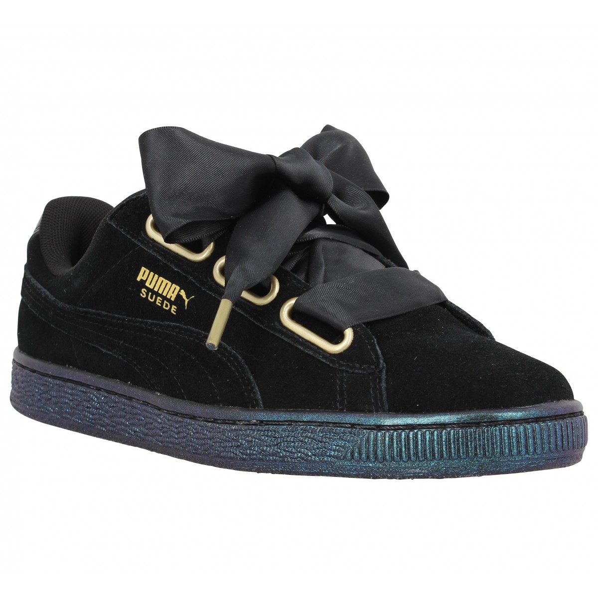 soldes puma suede heart satin noir femme fanny chaussures. Black Bedroom Furniture Sets. Home Design Ideas