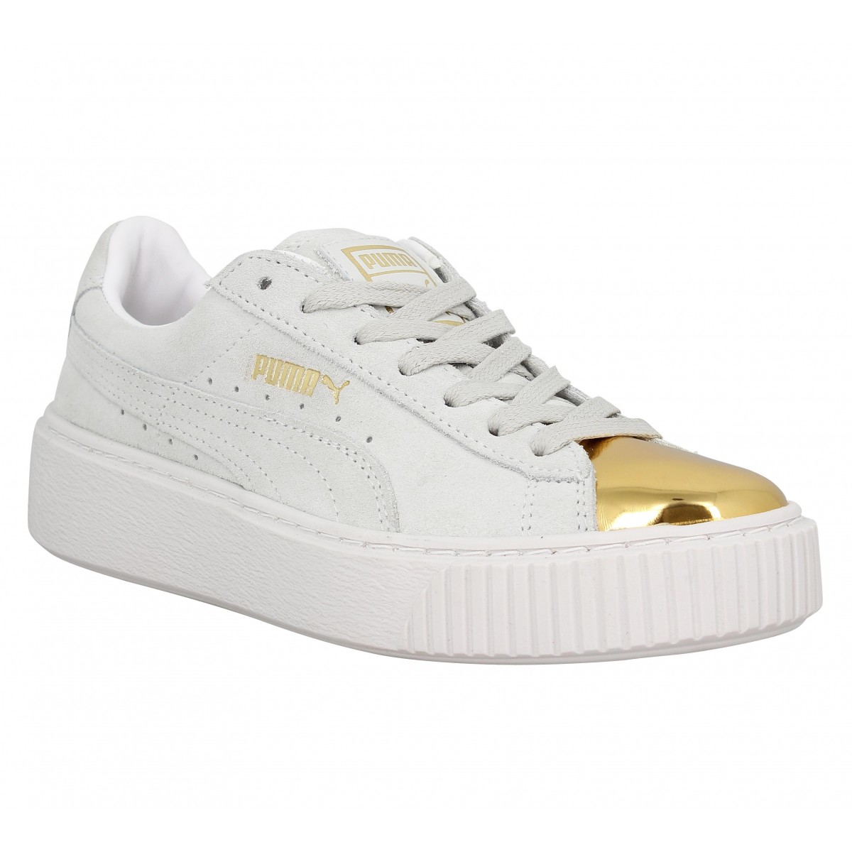 puma suede femme blanche et or