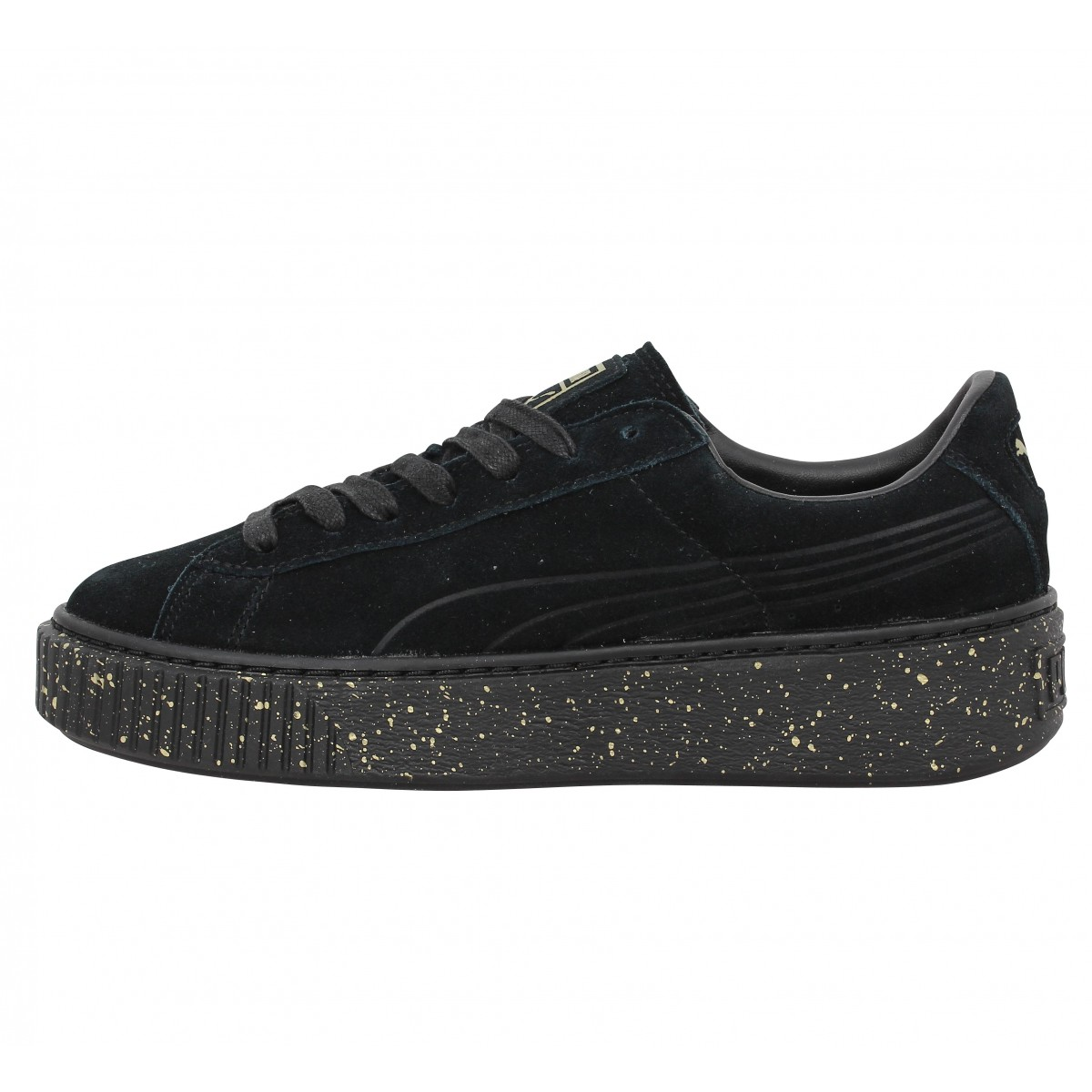 chaussures puma suede platform speckle black noir. Black Bedroom Furniture Sets. Home Design Ideas