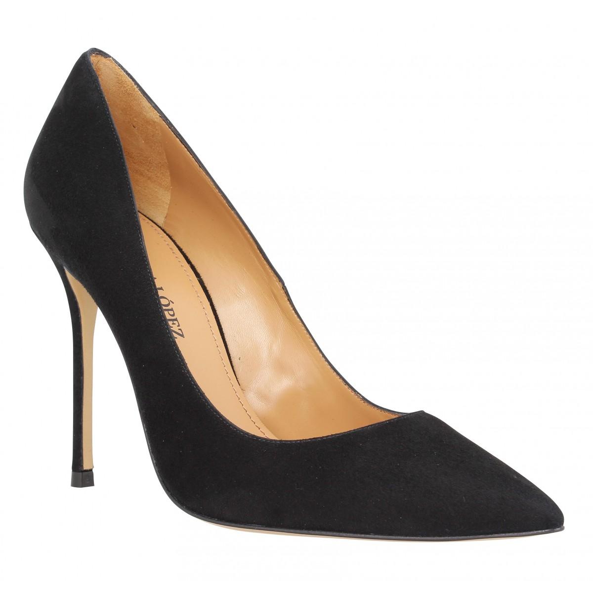 Pura Lopez 107 velours Femme Noir Noir - Chaussures Escarpins Femme