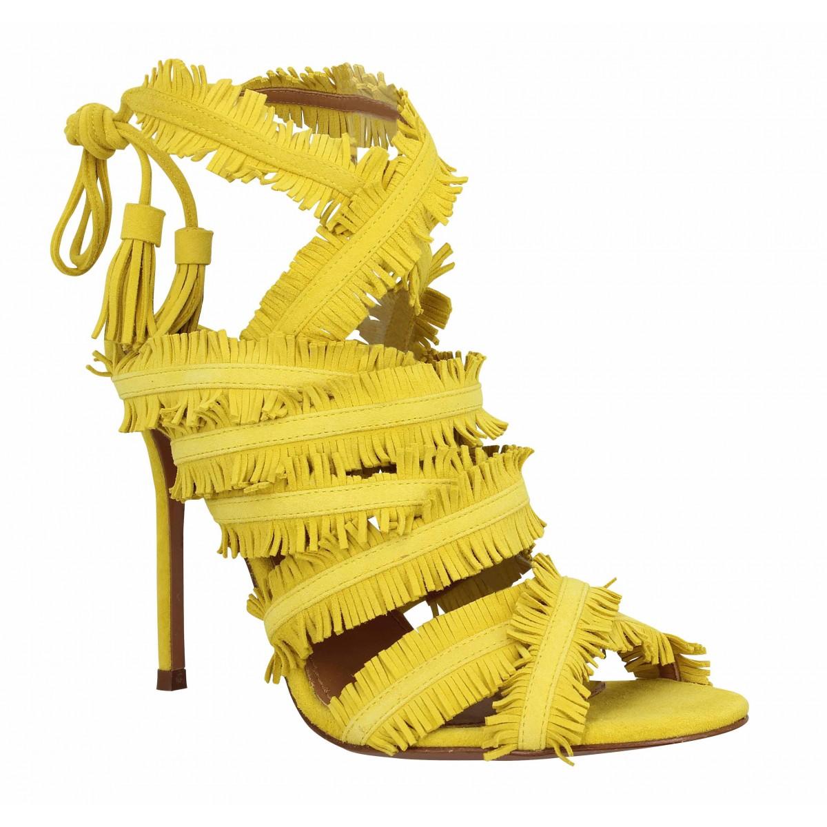Sandales talons PURA LOPEZ AM16 velours Femme Jaune