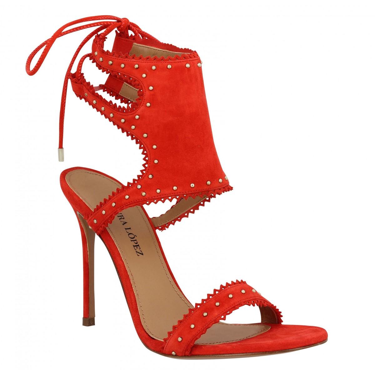 Sandales talons PURA LOPEZ AM17 velours Femme Rouge
