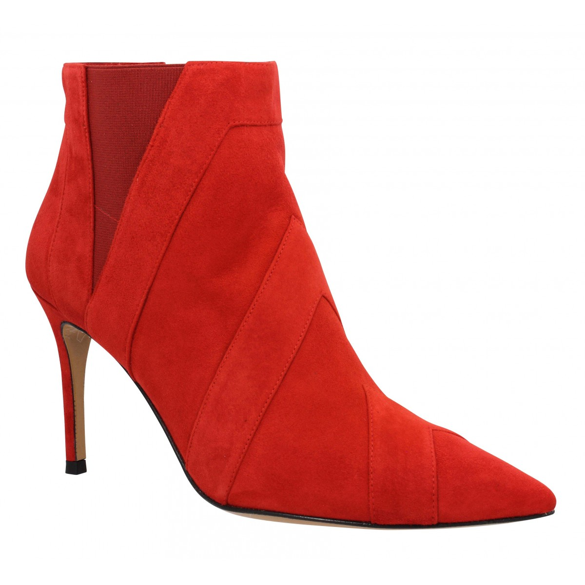 Bottines PURA LOPEZ AN117 velours Femme Rouge