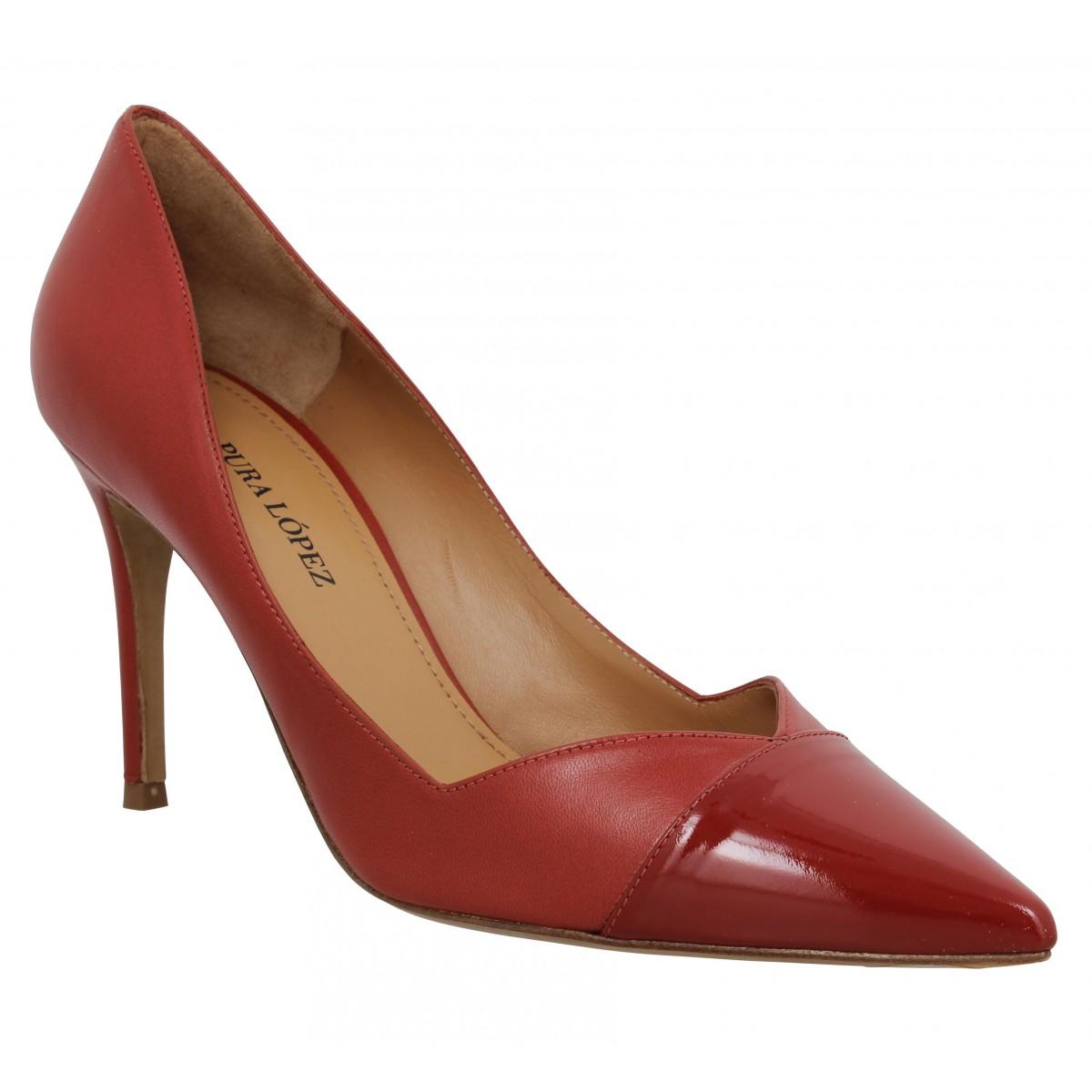 Escarpins PURA LOPEZ AP127 cuir Femme Rouge