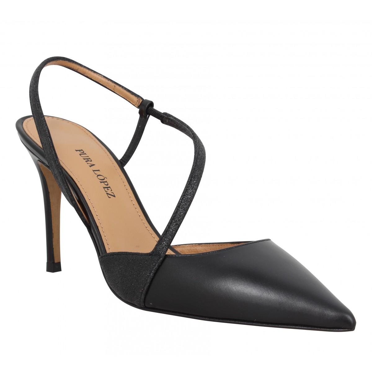 Escarpins PURA LOPEZ AQ115 cuir glitter Femme Noir