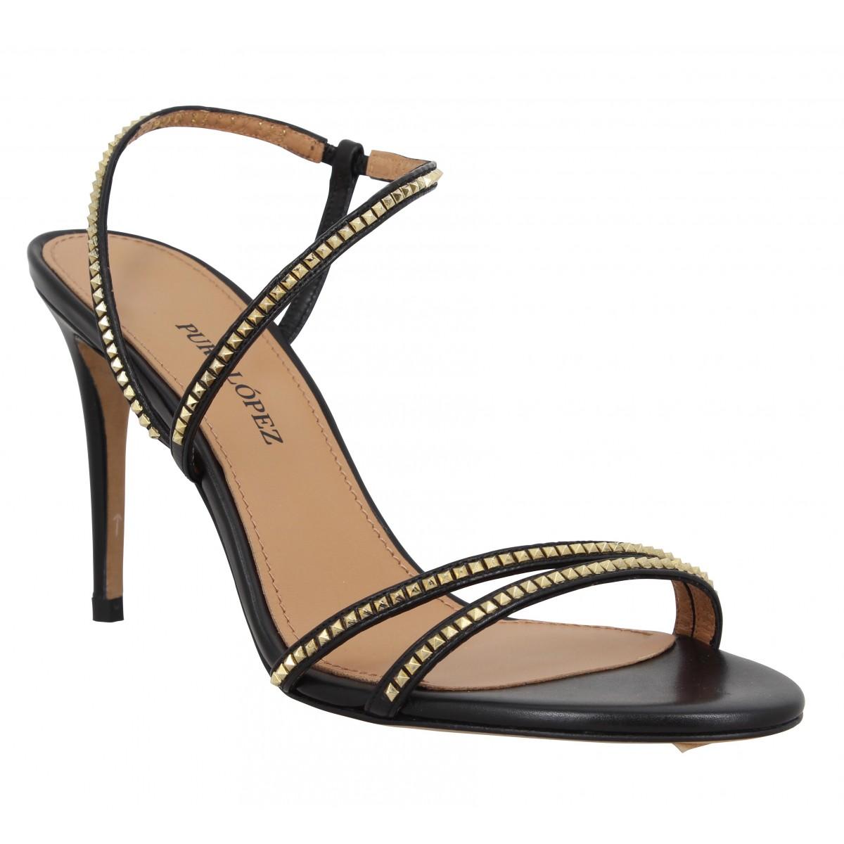 Sandales talons PURA LOPEZ AQ211T cuir Femme Noir
