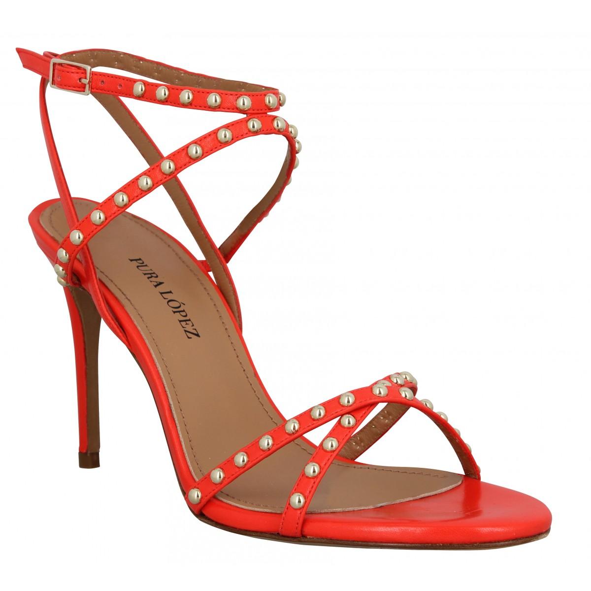 Sandales talons PURA LOPEZ O185 cuir Femme Rouge
