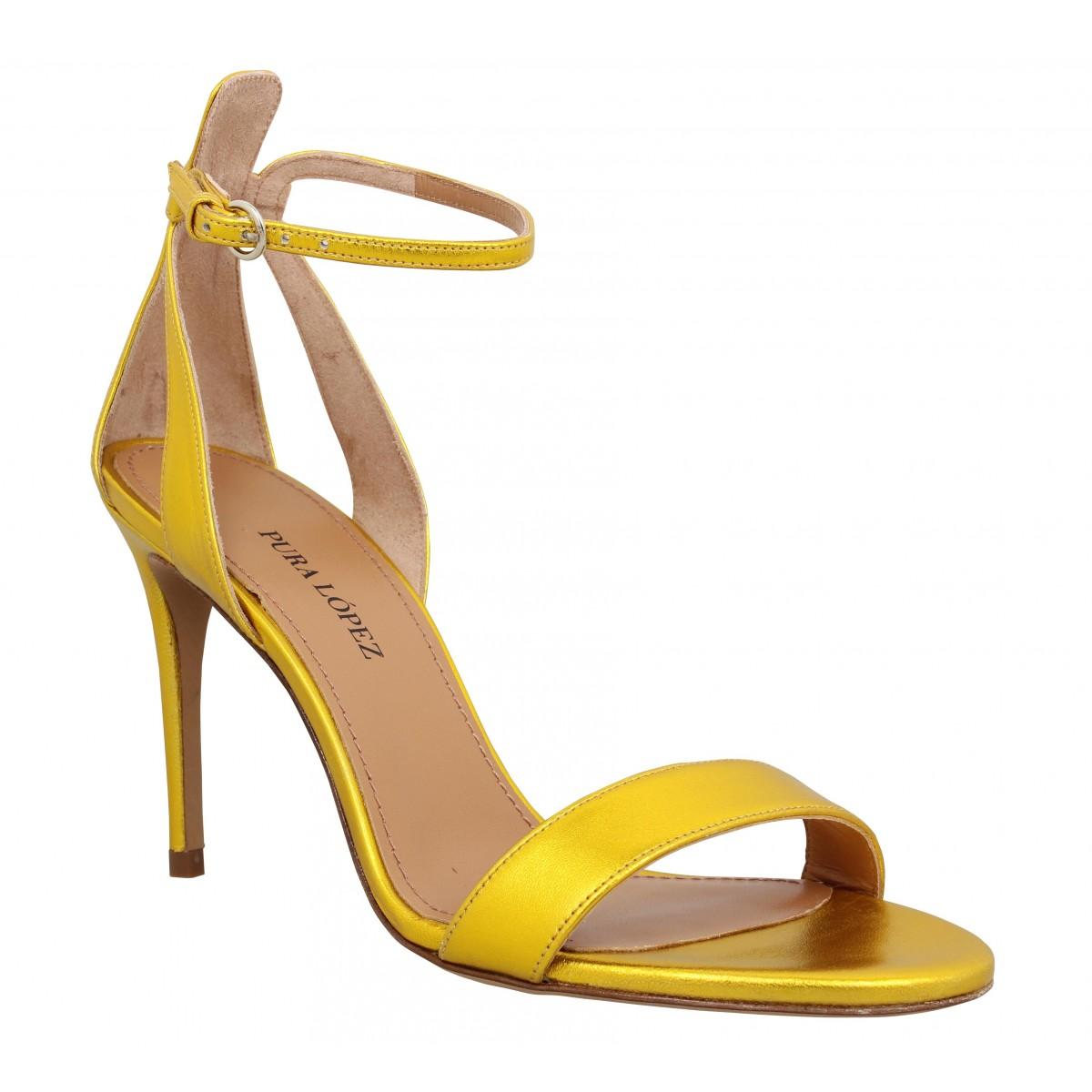 Sandales talons PURA LOPEZ O187 metal Femme Jaune