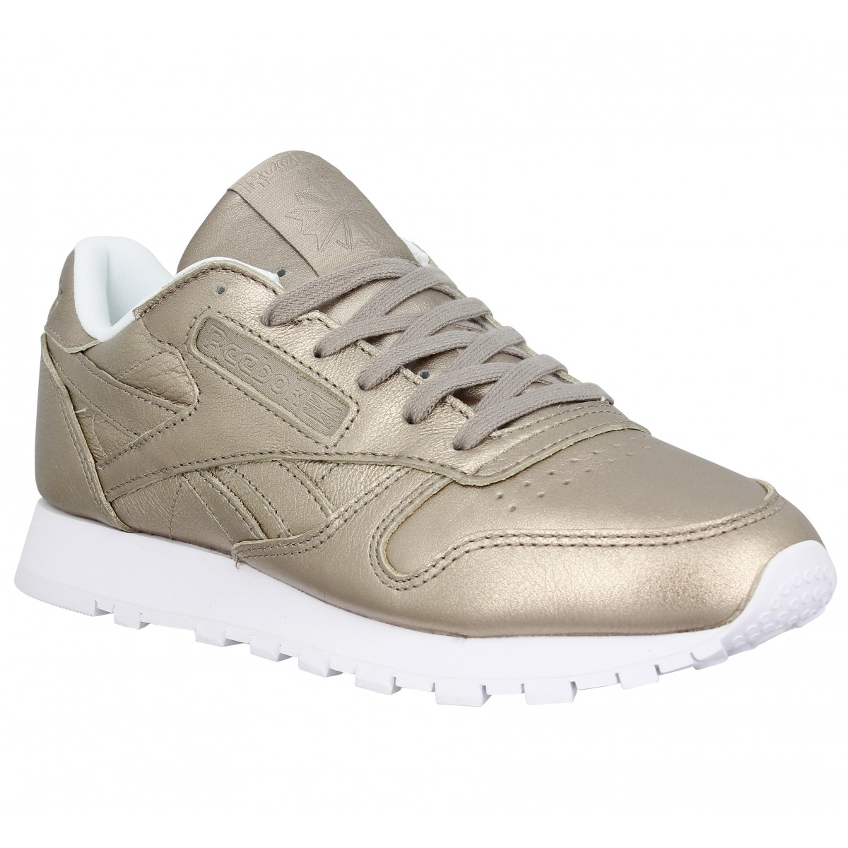 Baskets REEBOK Classic Leather Metal cuir Femme Grey Gold