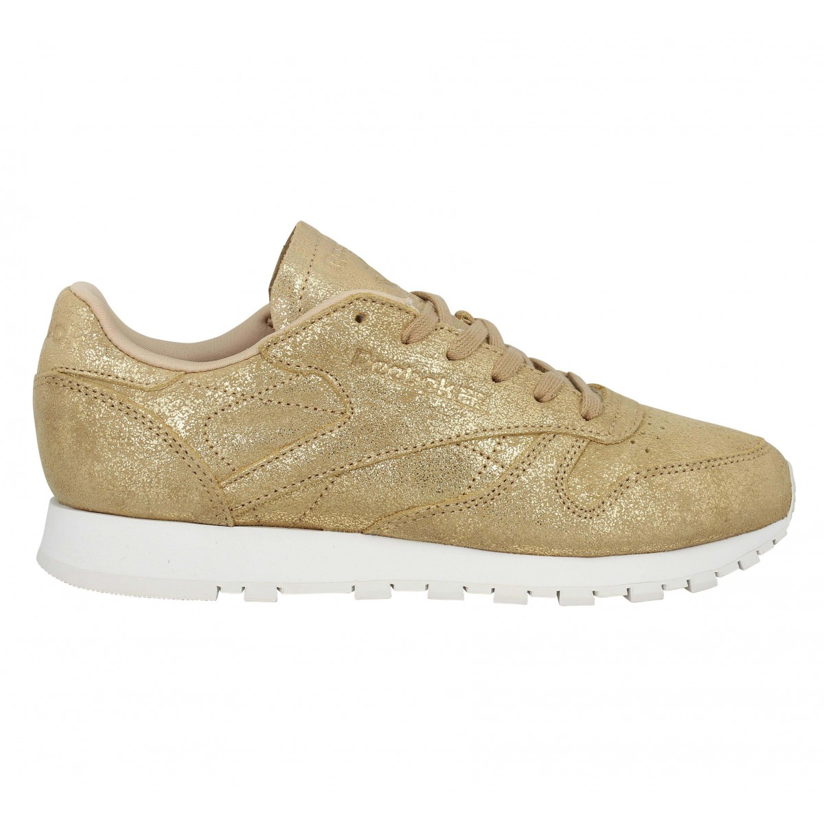 Chaussures Reebok classic leather shimmer velours femme gold