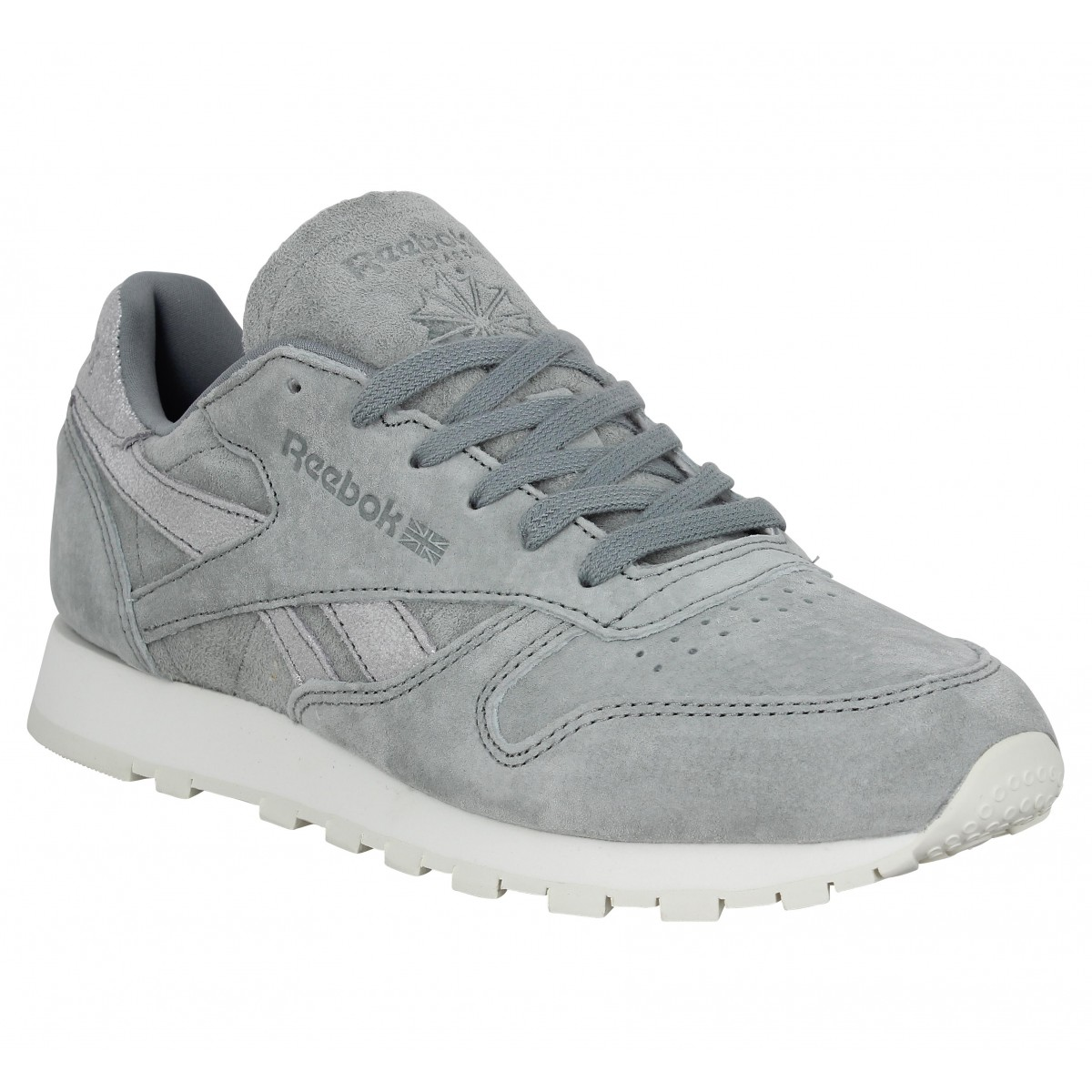 00c9d163d323d Baskets REEBOK Classic Leather Shimmer velours Femme Gris