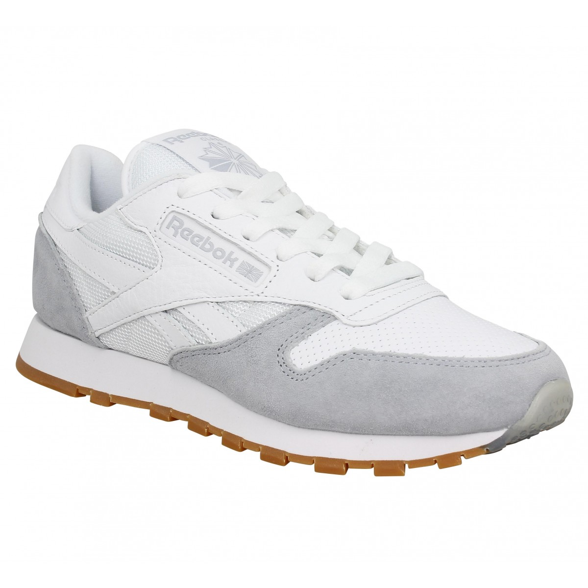 reebok classic leather spp blanc gris femme fanny chaussures. Black Bedroom Furniture Sets. Home Design Ideas