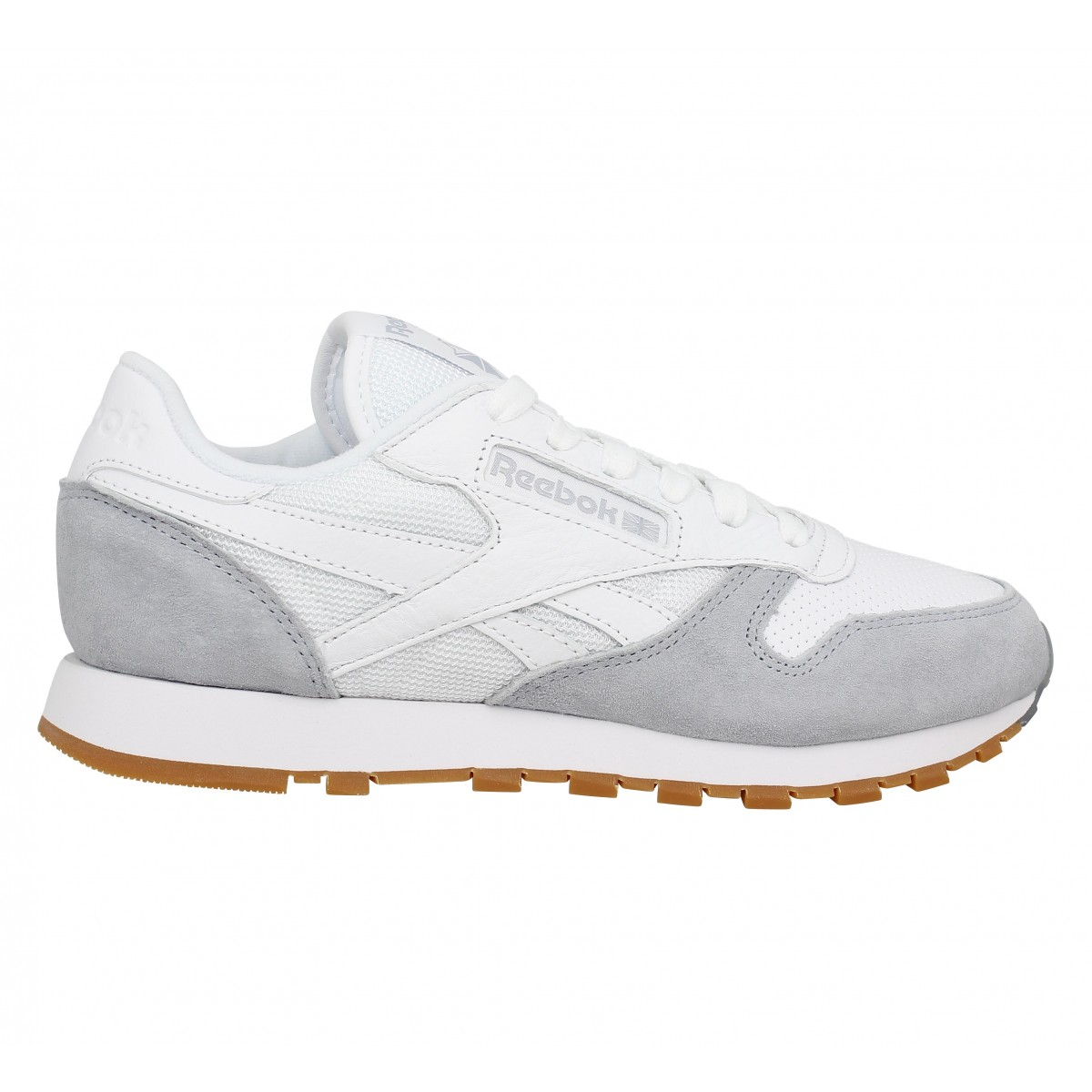 Reebok Classic Classic Leather Blanc / Gris - Chaussures Basket Homme