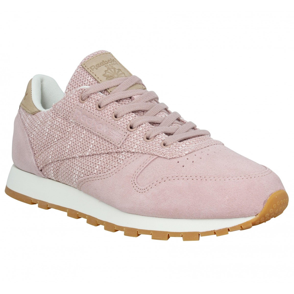 ebb6a7c8daa83 Baskets REEBOK Classic Leather velours toile Femme Rose