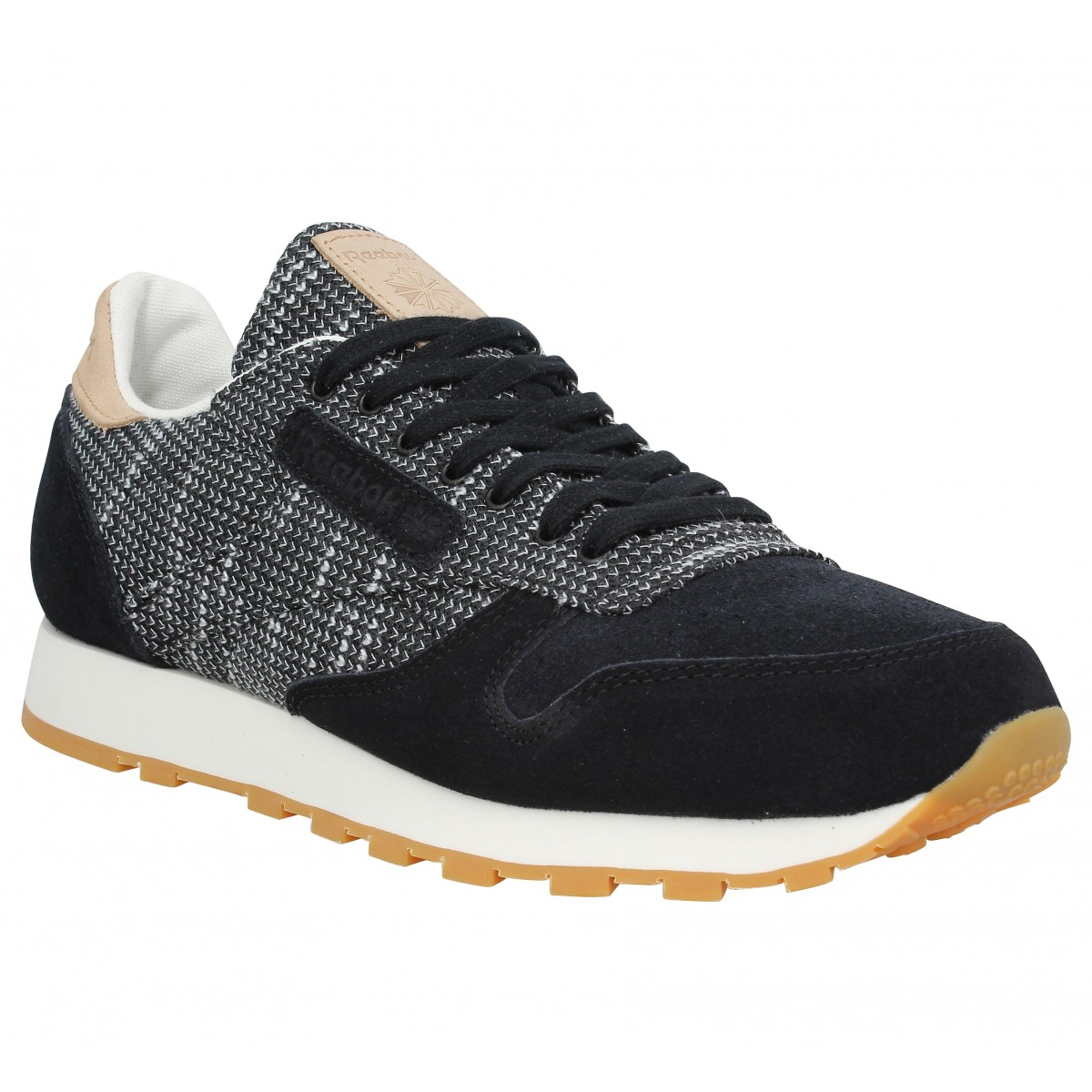 530f9e1774889 Baskets REEBOK Classic Leather velours toile Homme Noir