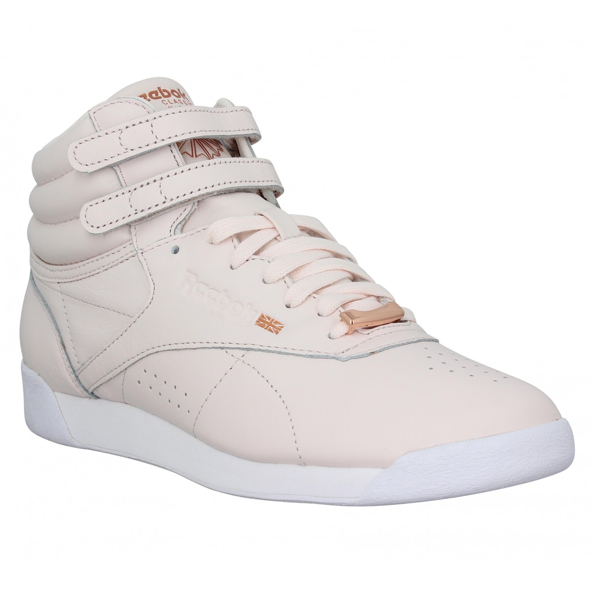 Baskets REEBOK Freestyle Hi cuir Femme Pale Pink