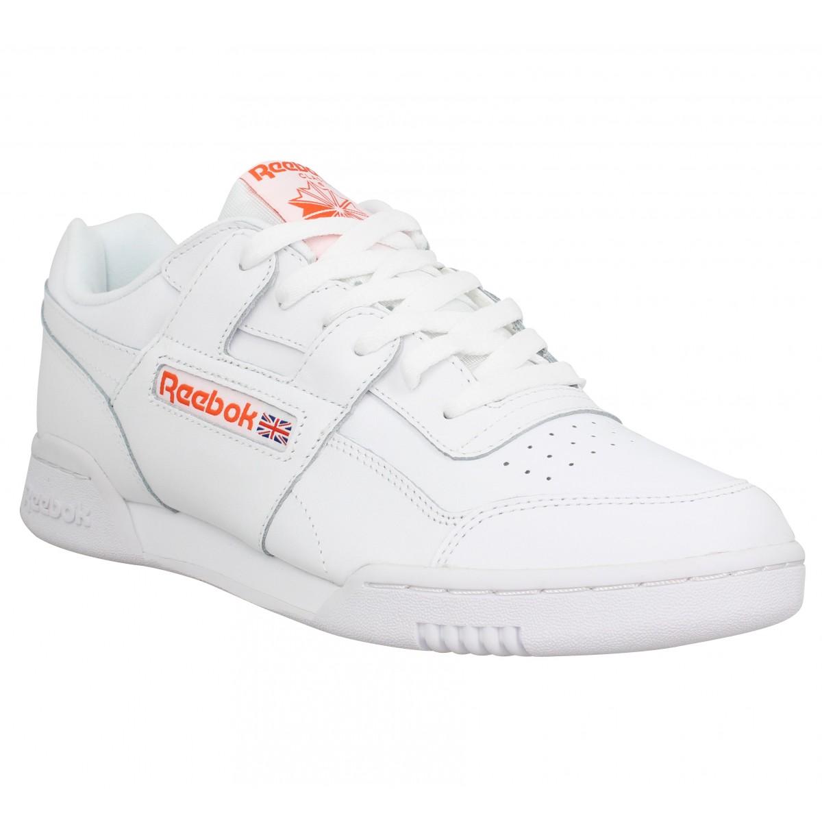 REEBOK Workout Plus cuir Homme Blanc Orange