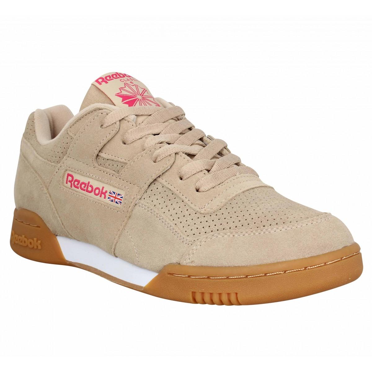 437092bd3963 Baskets REEBOK Workout Plus velours Homme Beige