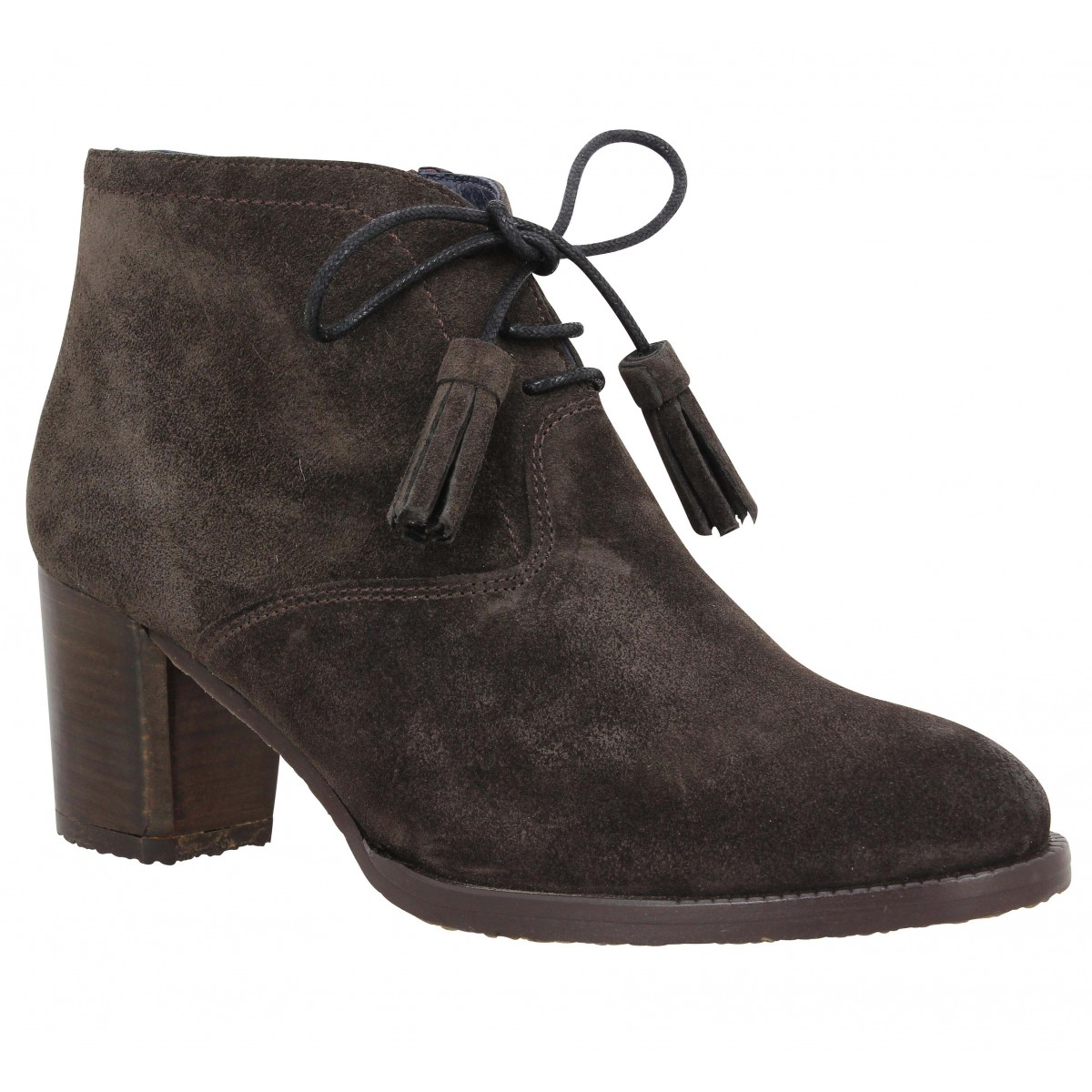 Bottines RIVA Cintia velours Femme Anthracite