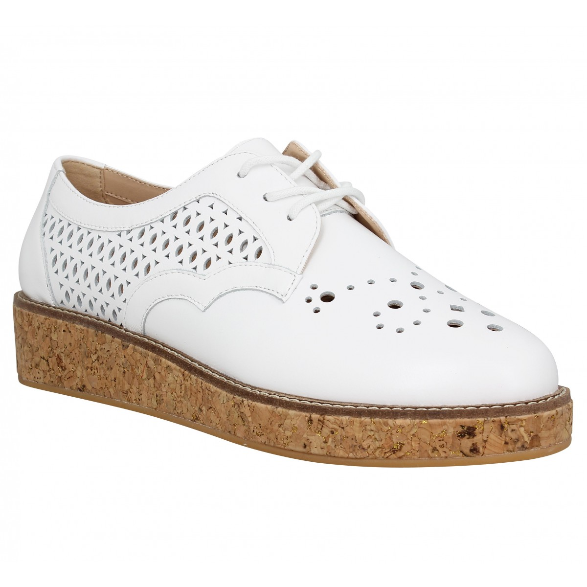 Chaussures à lacets SCHMOOVE Ariane Derby cuir Femme Blanc