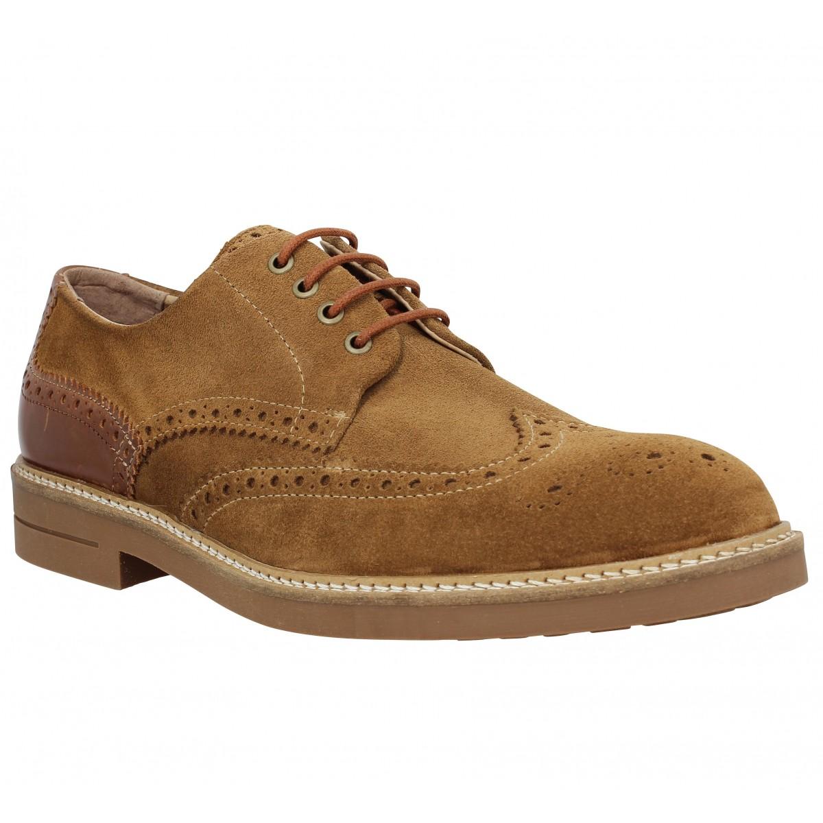 Chaussures à lacets SCHMOOVE Crew Perfo velours Homme Cognac