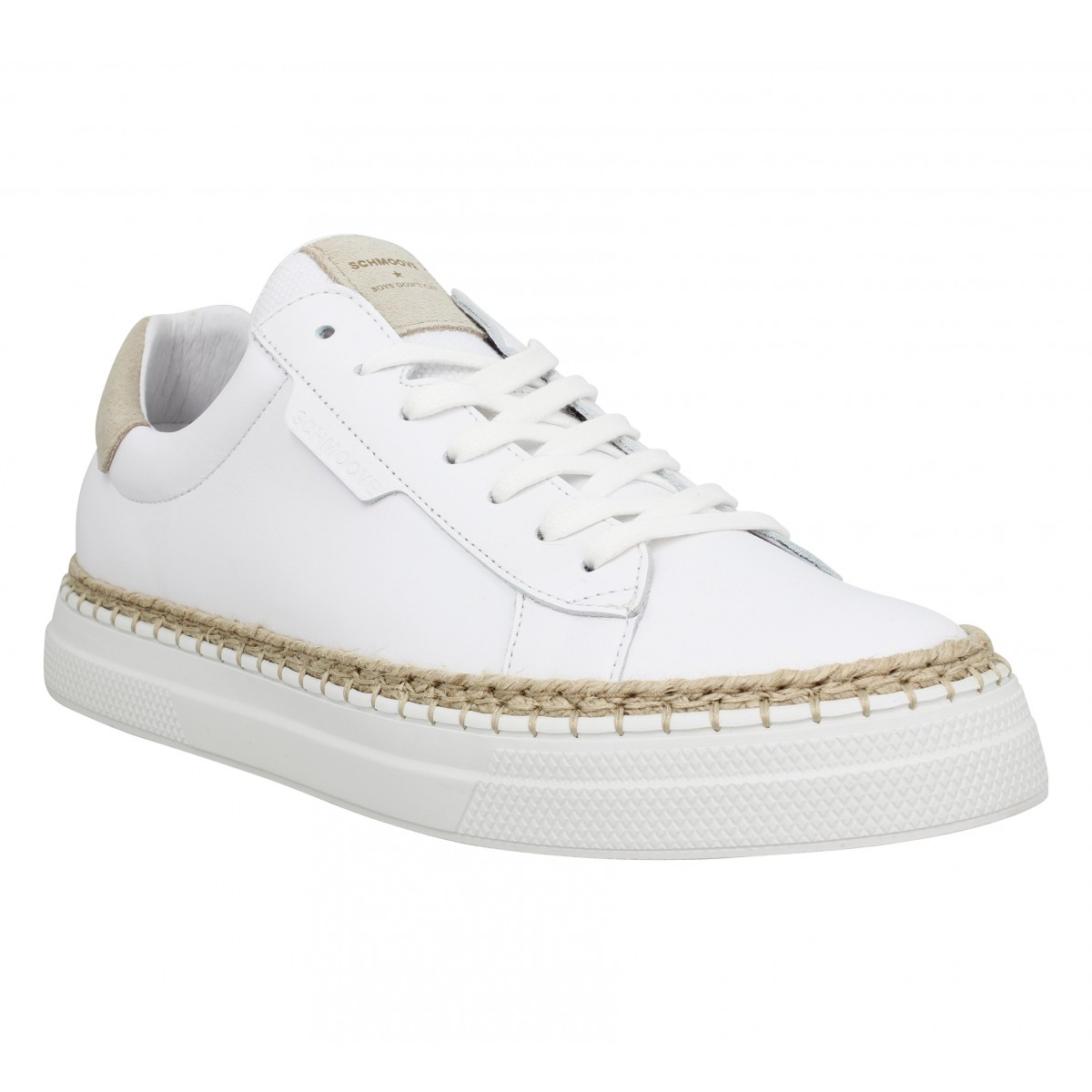 Baskets SCHMOOVE Data Clay cuir Homme Blanc Beige