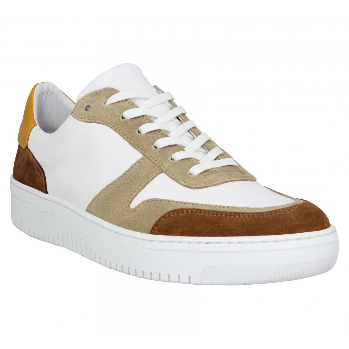 Baskets SCHMOOVE Evoc Sneaker cuir velours Homme Blanc Tan