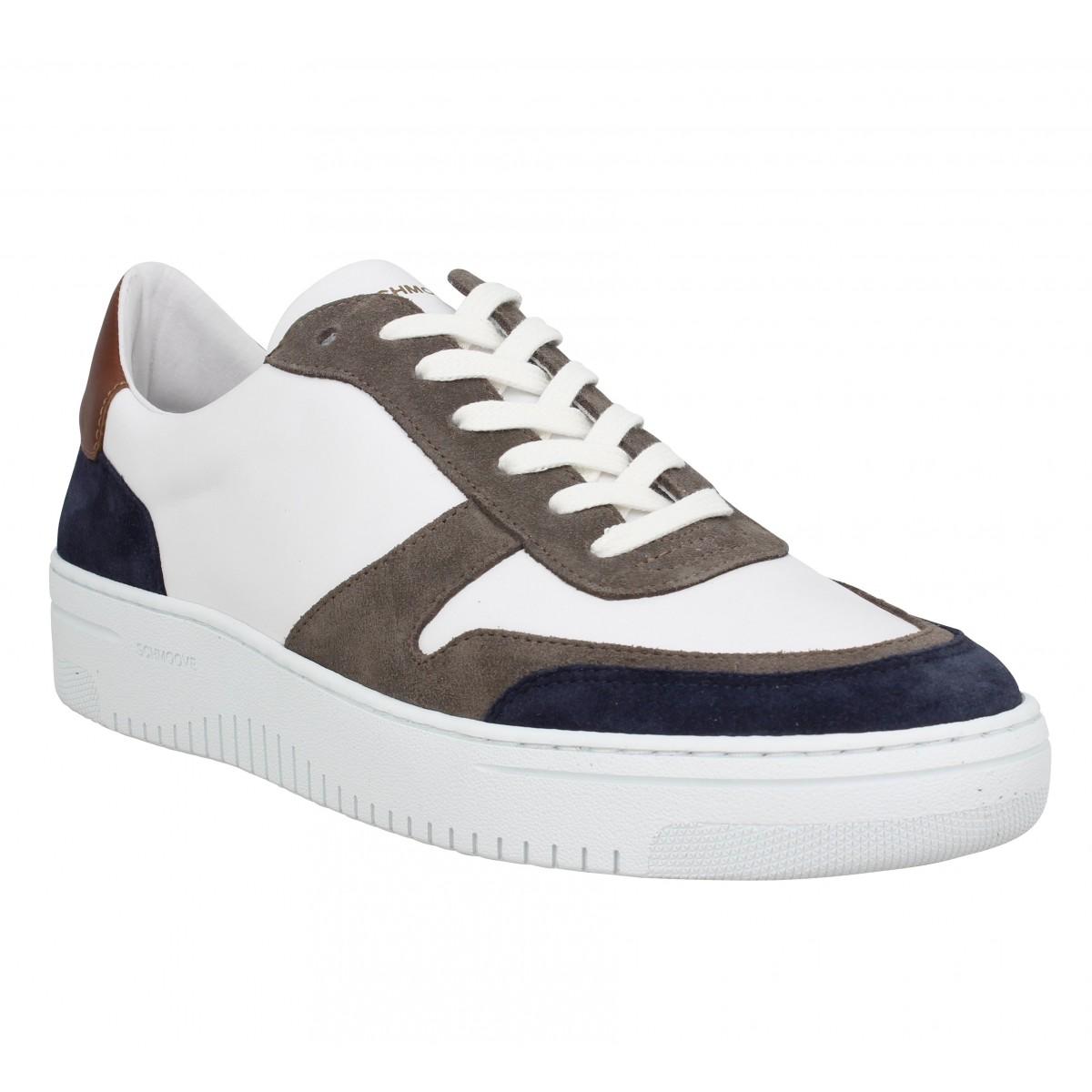 Baskets SCHMOOVE Evoc Sneaker cuir velours Homme Marine Cognac
