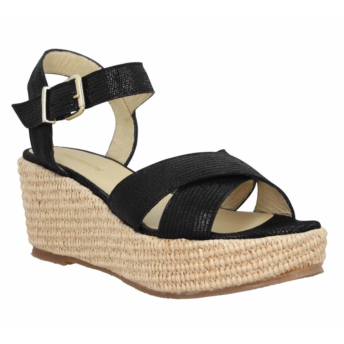 Compensées SCHMOOVE Luna Sandale cuir Femme Noir