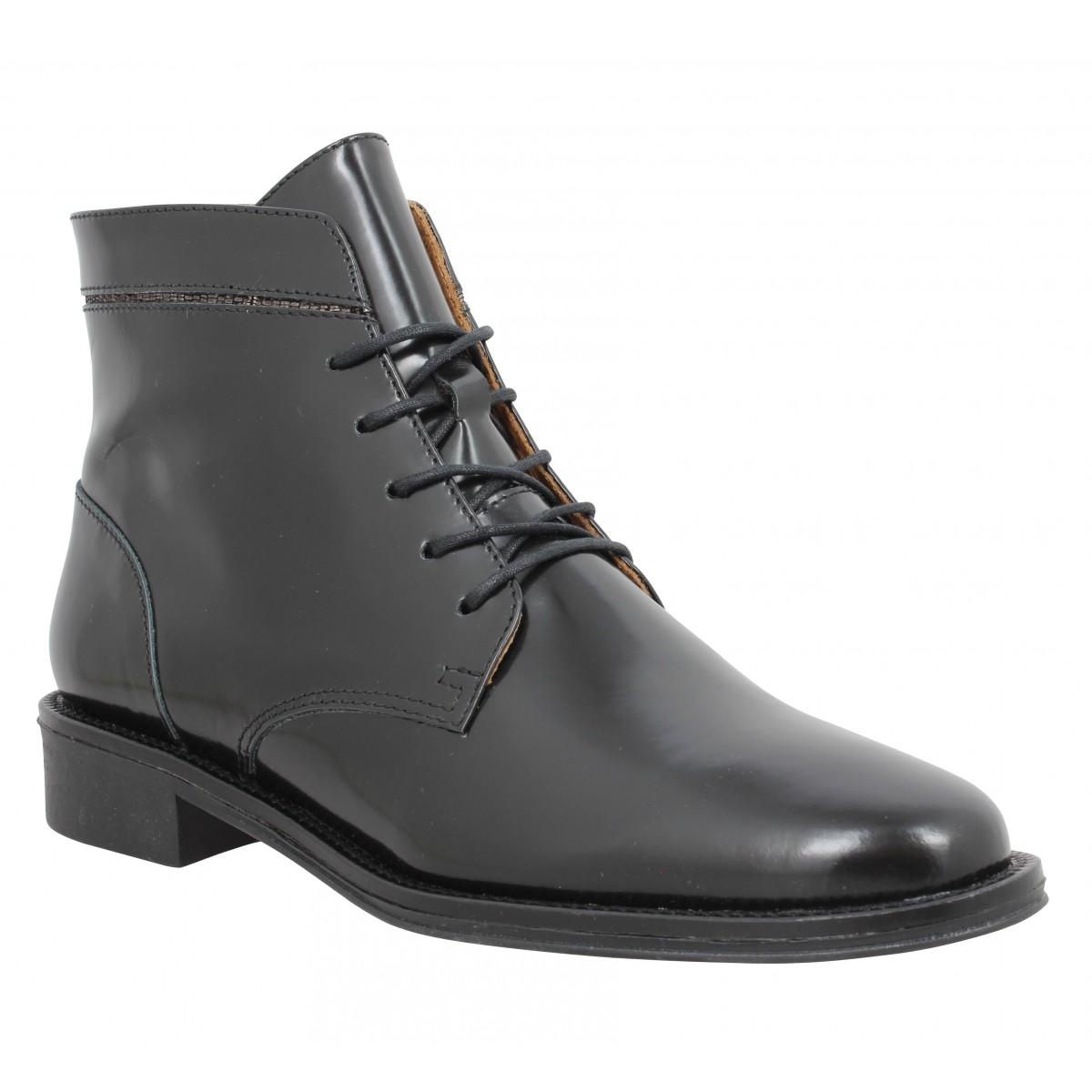 bead7f83a525 Bottines SCHMOOVE Newton Boots cuir Femme Noir