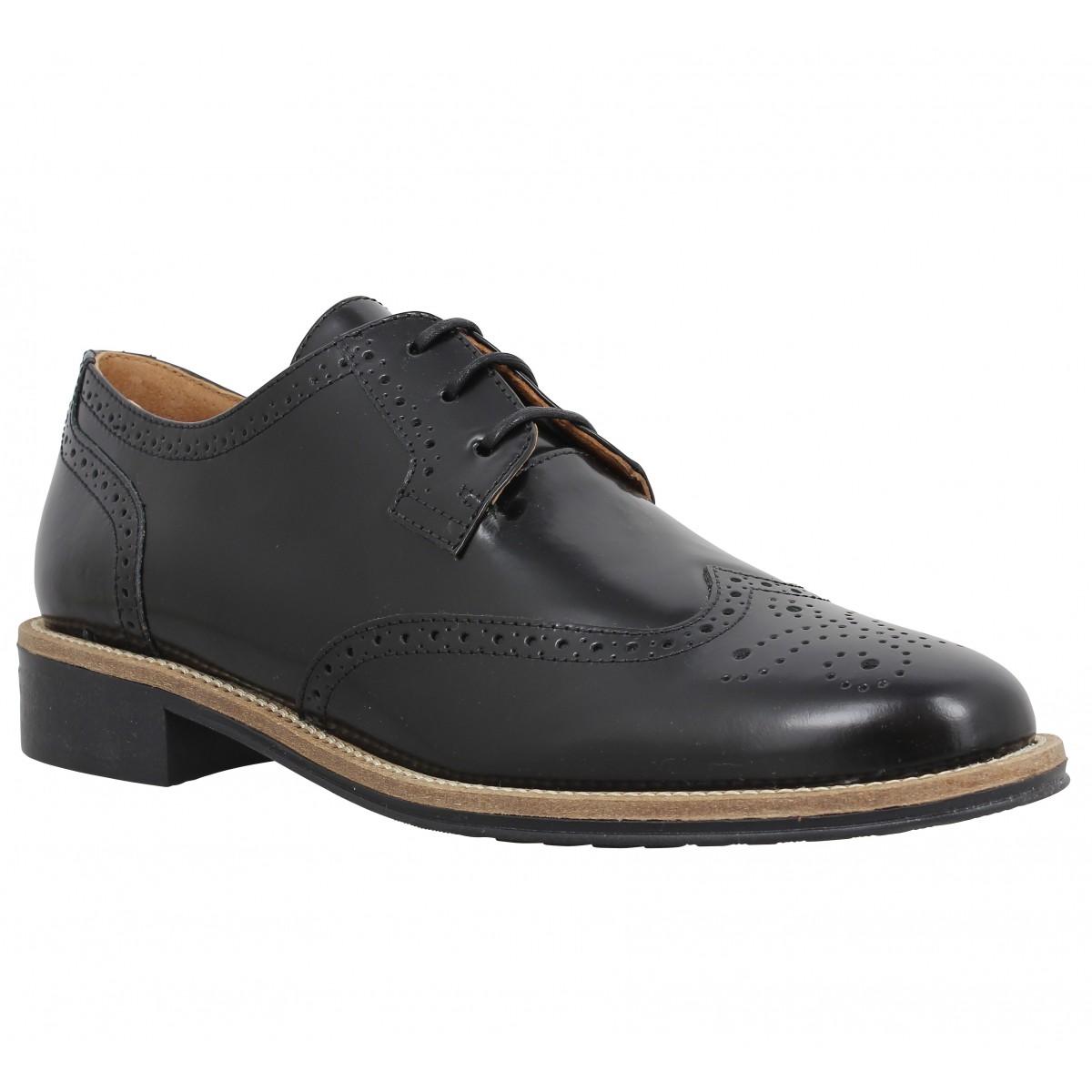 Chaussures à lacets SCHMOOVE Newton Perfo cuir Femme Noir