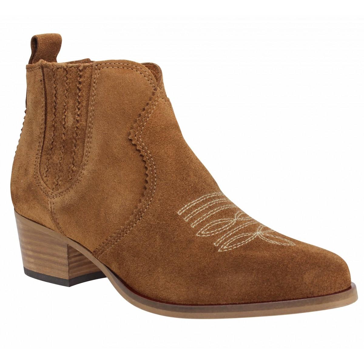 Bottines SCHMOOVE Polly Boots suede Femme Cognac