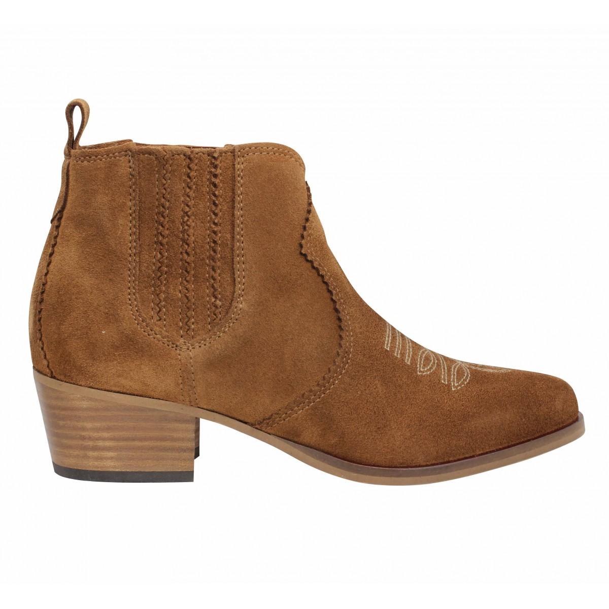 Femme Polly SCHMOOVE Cognac suede Boots EWD2HYI9