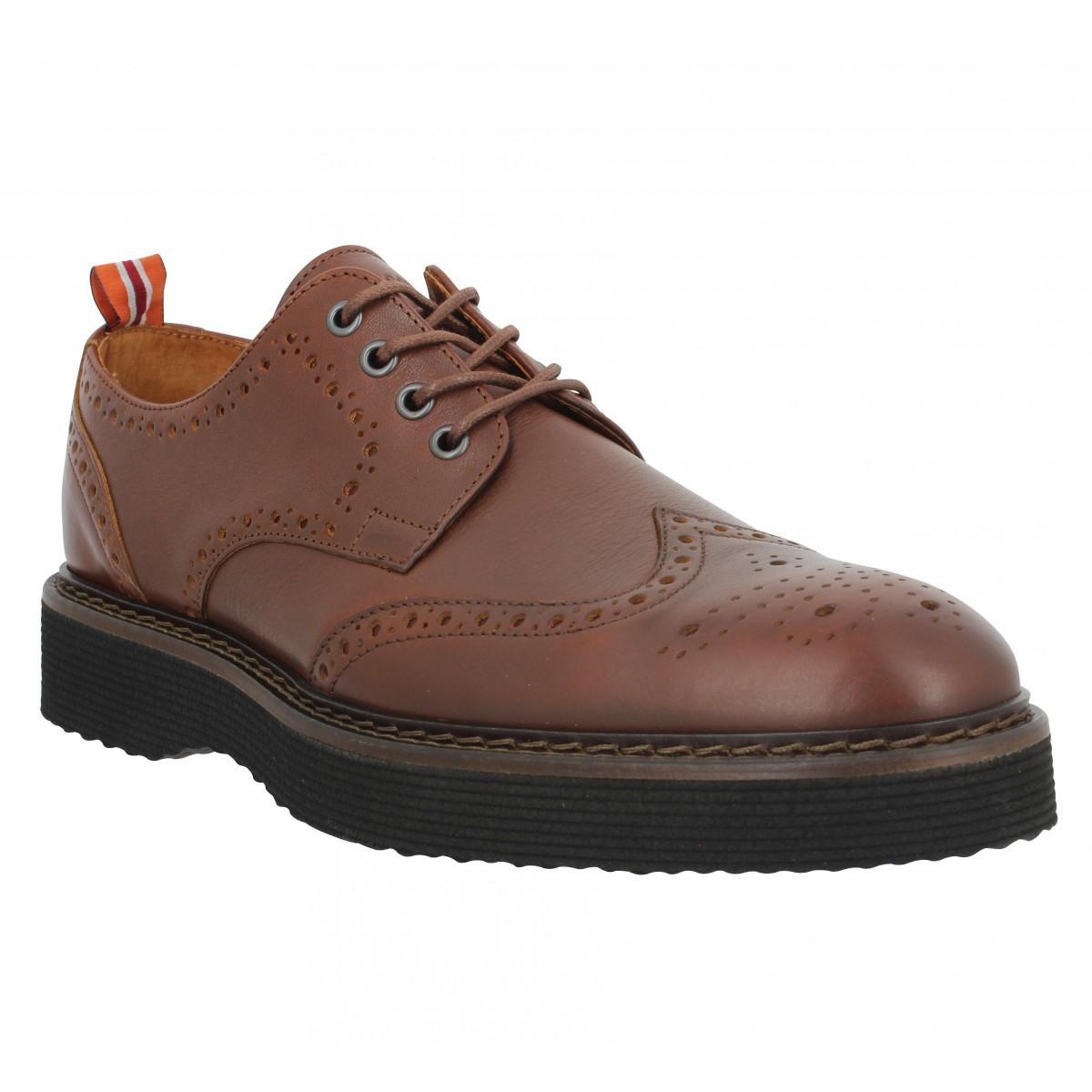 Chaussures à lacets SCHMOOVE Roma Perfo cuir antik Homme Cognac
