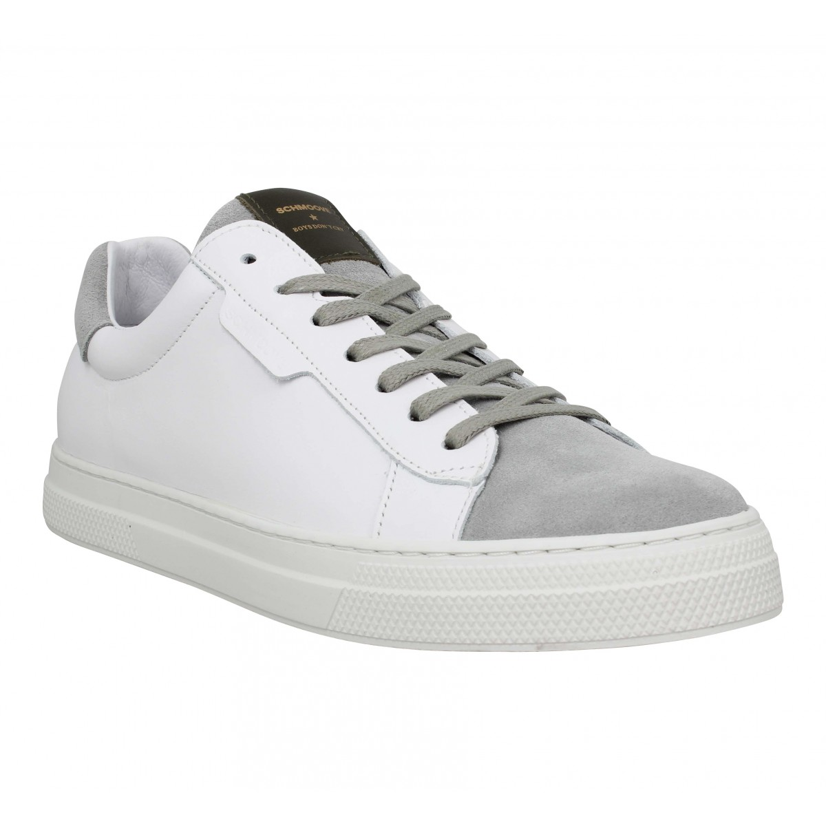 Baskets SCHMOOVE Spark Clay cuir velours Homme Blanc Ciment
